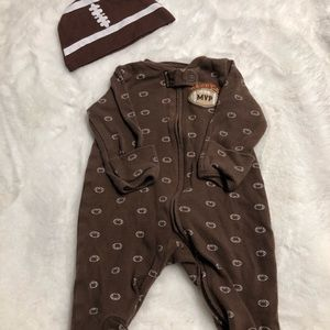 Carters NB football one piece outfit
